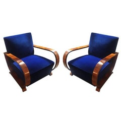Pair of Original Art Deco French Armchairs in Walnut and Blue Velvet, 1930s