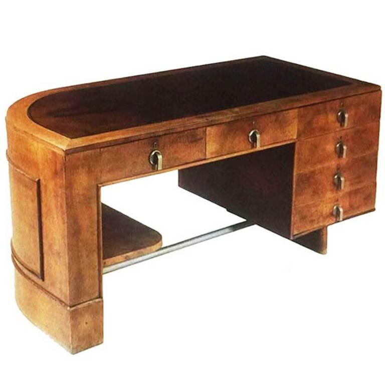 original italian art deco desk in walnut and briar root 1930s for rh 1stdibs com art deco desk for sale art metal desk for sale