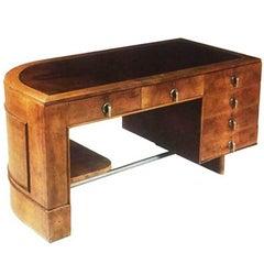 Original Italienischer Art Deco Schreibtisch in Nussbaumholz und Dornstrauchwurzel, 1930er