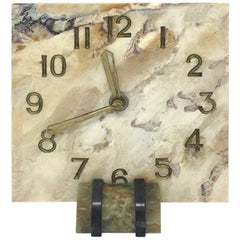 Original French Art Deco Table Clock in Marble, 1930s