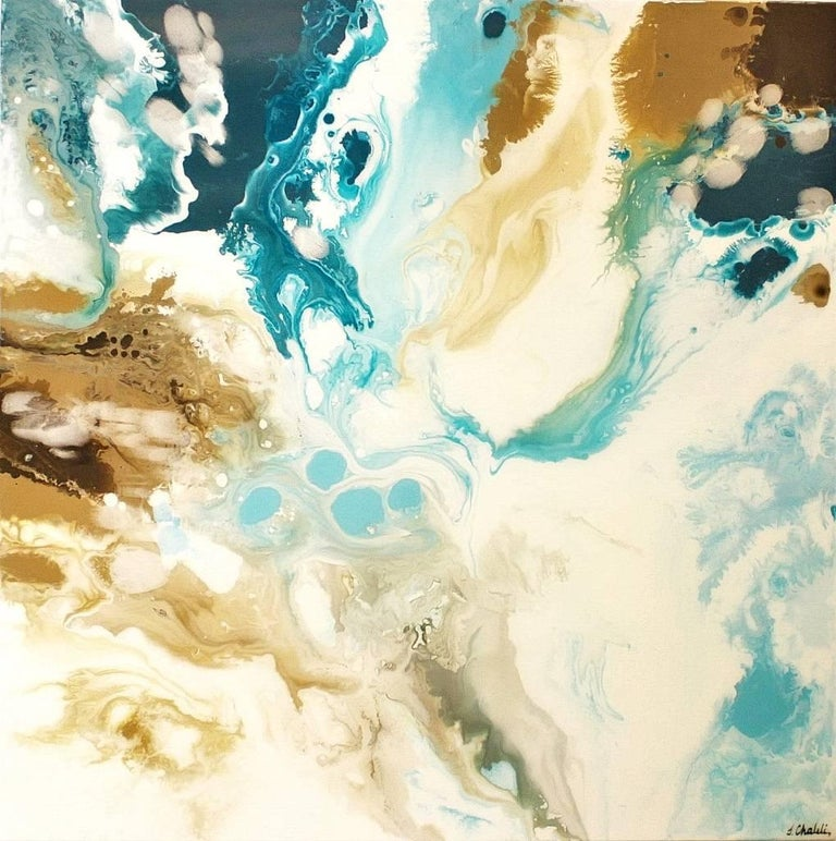 "Contemporary Abstract Resin Painting on Canvas ""Viscosity"""
