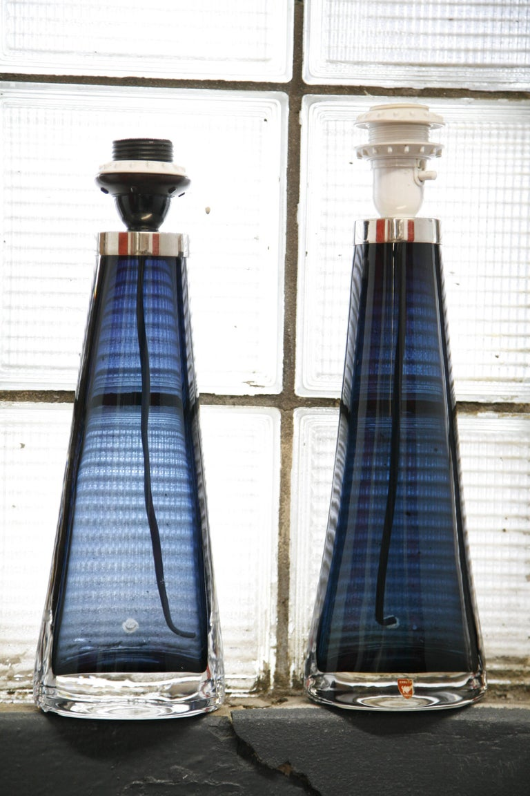 Mid-Century Modern Pair of 1970s Blue Crystal Orrefors Lamps design Carl fagerlund For Sale