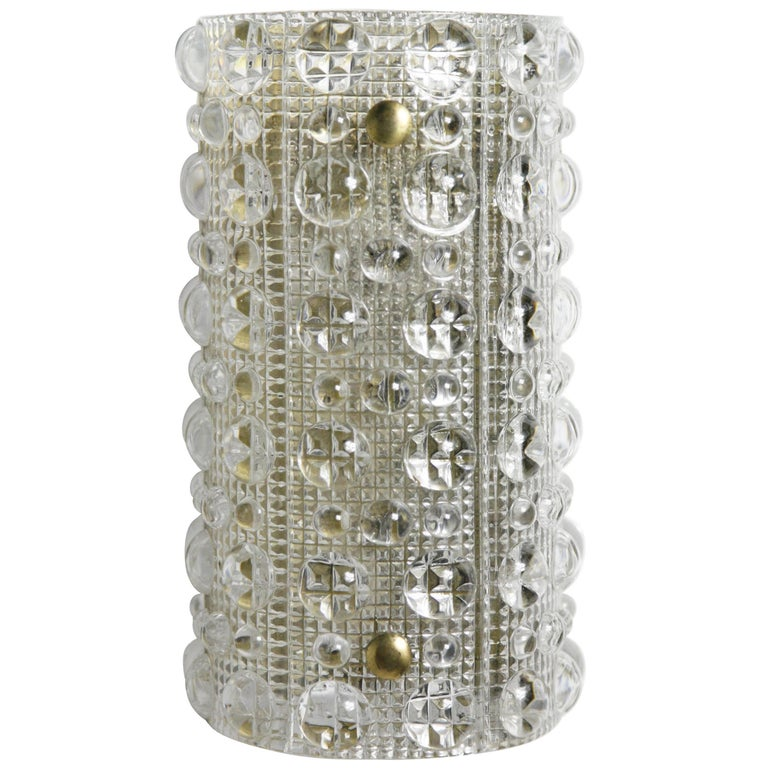 Orrefors Crystal and Brass Sconce by Carl Fagerlund, Sweden, 1950