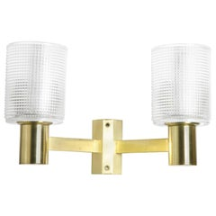 Hans Agne Jakobson Two-Arm Brass Wall Lights, Sweden, 1970