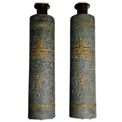 Pair of Earthen Green Bitossi Large Lamps