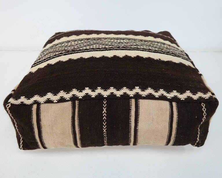 Hand-Woven Moroccan Kilim Pouf  Vintage Ottoman  Wool Morocco Floor Cushion For Sale