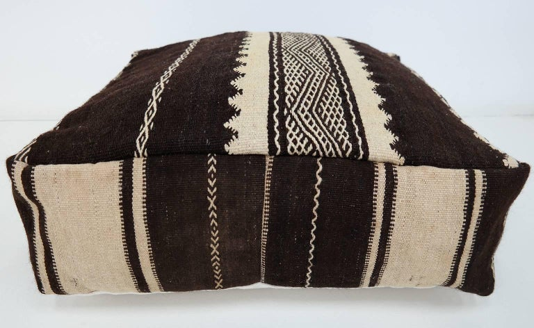 Moroccan Kilim Pouf  Vintage Ottoman  Wool Morocco Floor Cushion For Sale 1