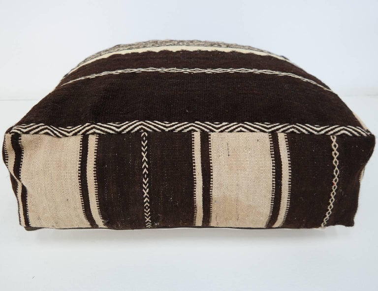 Late 20th Century Moroccan Kilim Pouf  Vintage Ottoman  Wool Morocco Floor Cushion For Sale