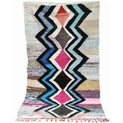 Moroccan Kilim Rug  Flatweave Contemporary Carpet  Boucherouite Rug