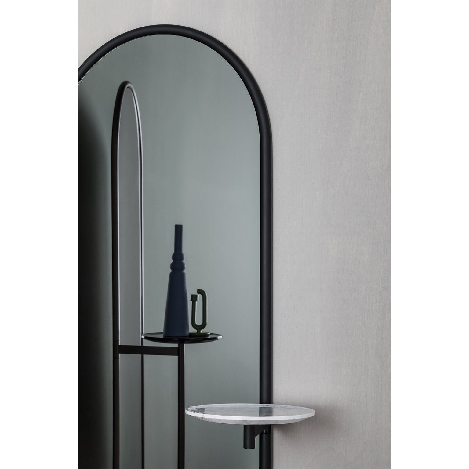 Michelle Floor Mirror With Tubular Steel Frame, Smoked Mirror And Marble  For Sale At 1stdibs