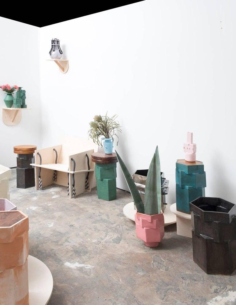 American Large Contemporary Raw Terracotta Ceramic Hexagon Planter For Sale