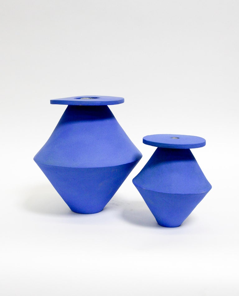 Jumbo Klein blue diamond vase, stoneware and glaze. Measures: 10 x 12? Unlimited edition, individual vases are unique in size, glaze, and shape. Well made in Los Angeles.  Made to order unless in stock, please allow 4 – 6 weeks for delivery