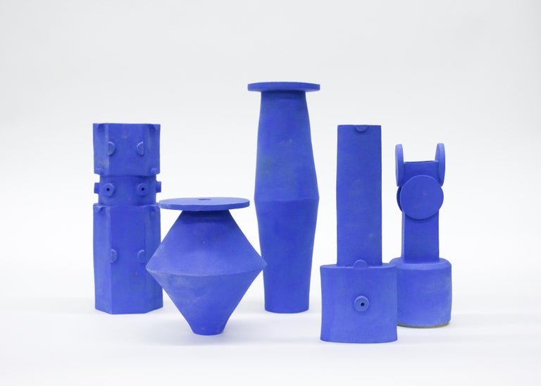 Tall saucer Klein blue vase, stoneware and glaze. 4 x 12? Unlimited edition, individual vases are unique in size, glaze, and shape. Well made in Los Angeles.  Made to order unless in stock, please allow 4 – 6 weeks for delivery unless otherwise