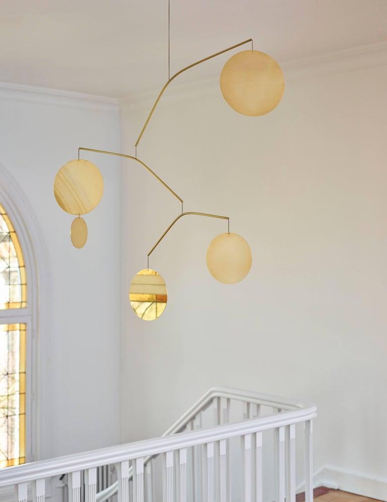 Modern Céleste Brass Sculptural Kinetic Pendant For Sale