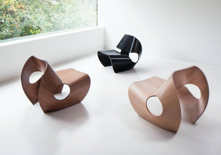 Minimalist Cowrie, Walnut & Plywood Lounge Chair with Padded Leather Seat by Made in Ratio For Sale