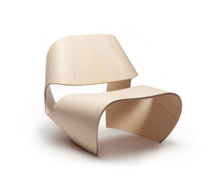 Cowrie, Walnut & Plywood Lounge Chair with Padded Leather Seat by Made in Ratio For Sale 2