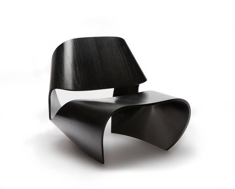 Modern Cowrie, Ebonised Ash Veneered Bent Plywood Lounge Chair by Made in Ratio For Sale