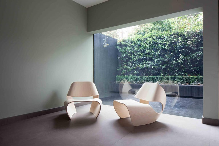 Modern Cowrie, Ash Veneered Bent Plywood Contemporary Lounge Chair by Made in Ratio For Sale