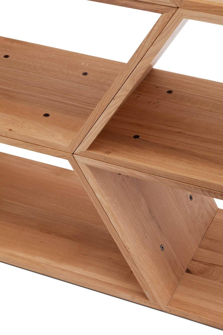 Minimalist Tetra, Solid Oak Customisable Contemporary Shelving Units by Made in Ratio For Sale