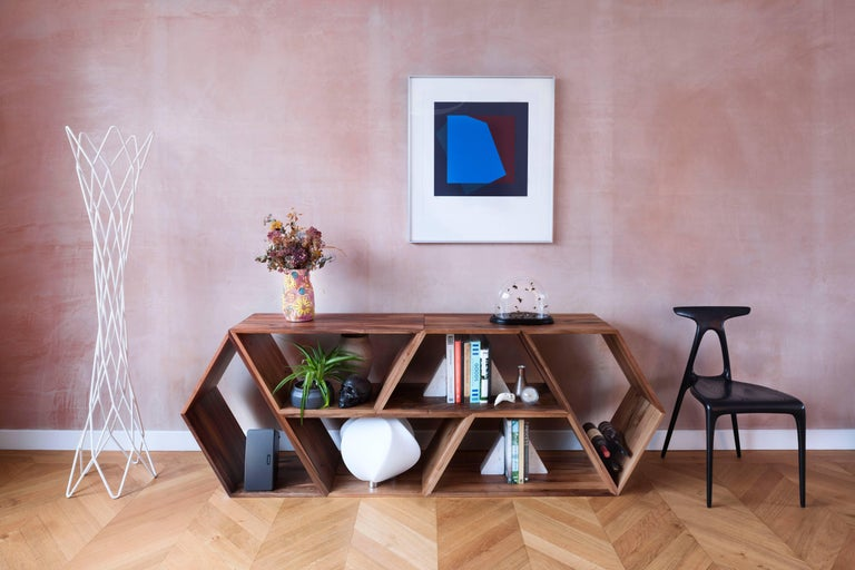 Tetra, Solid Oak Customisable Contemporary Shelving Units by Made in Ratio For Sale 2