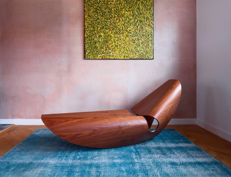 British Cowrie, Ebonised Ash Bent Plywood Rocking Chaise Longue by Made in Ratio For Sale