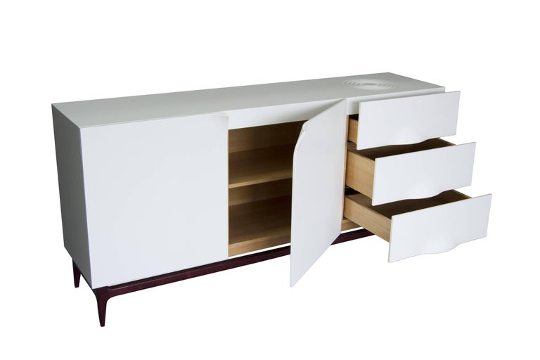 Folio Sideboard, Corian and Amarante Sideboard In Excellent Condition For Sale In Paris, FR
