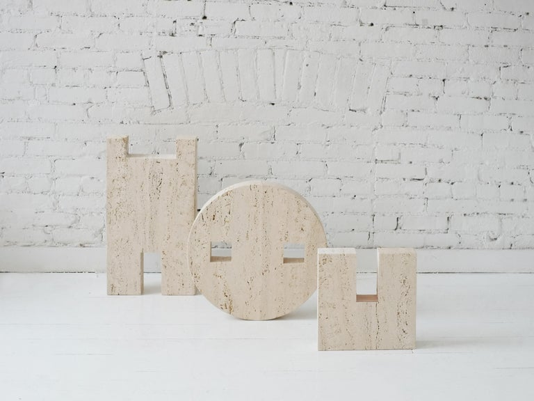 Contemporary Planar Side Table in Travertine Stone by Fort Standard, in Stock 7