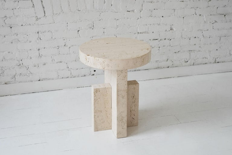 Contemporary Planar Side Table in Travertine Stone by Fort Standard, in Stock 1