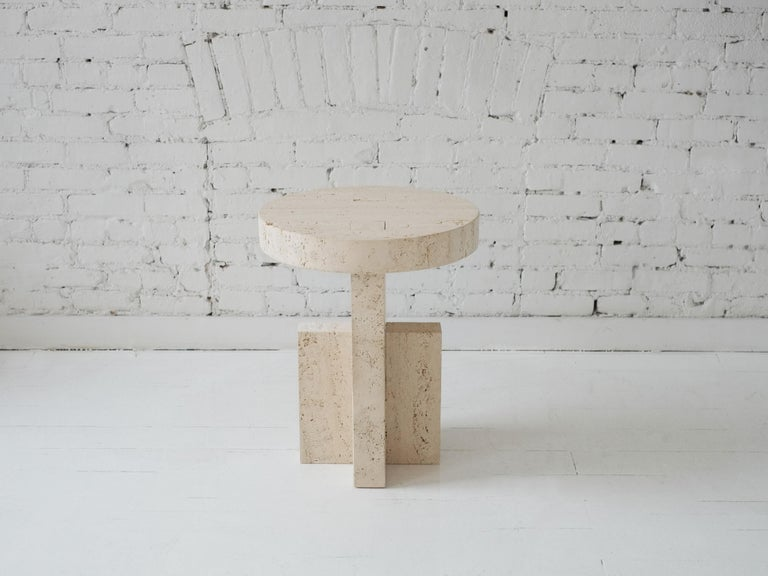 Contemporary Planar Side Table in Travertine Stone by Fort Standard, in Stock In New Condition In Brooklyn, NY