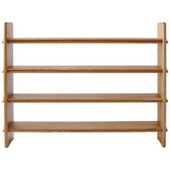 Contemporary Pin Shelf in White Oak Wood by Fort Standard, in Stock