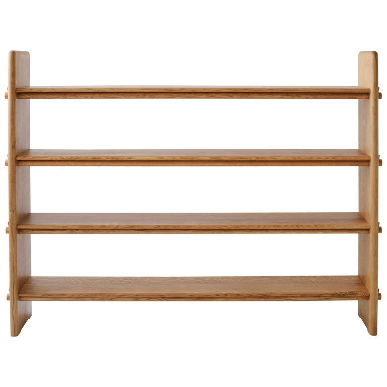 Contemporary Pin Shelf in White Oak Wood by Fort Standard, in Stock For Sale