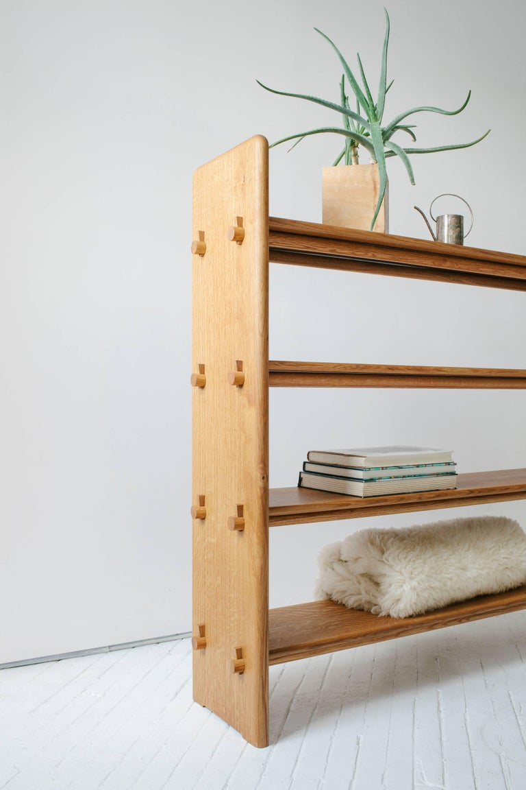 American Contemporary Pin Shelf in White Oak Wood by Fort Standard, in Stock For Sale
