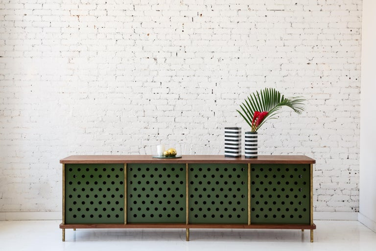 American Contemporary 4 Door Strata Credenza. Walnut, Brass, Green Doors by Fort Standard For Sale