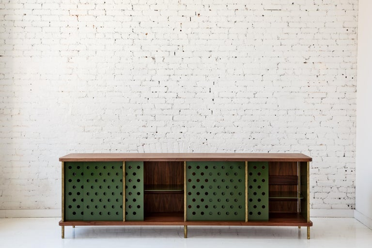 Powder-Coated Contemporary 4 Door Strata Credenza. Walnut, Brass, Green Doors by Fort Standard For Sale