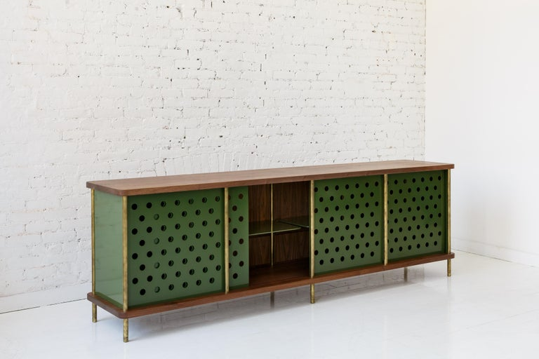 Aluminum Contemporary 4 Door Strata Credenza. Walnut, Brass, Green Doors by Fort Standard For Sale