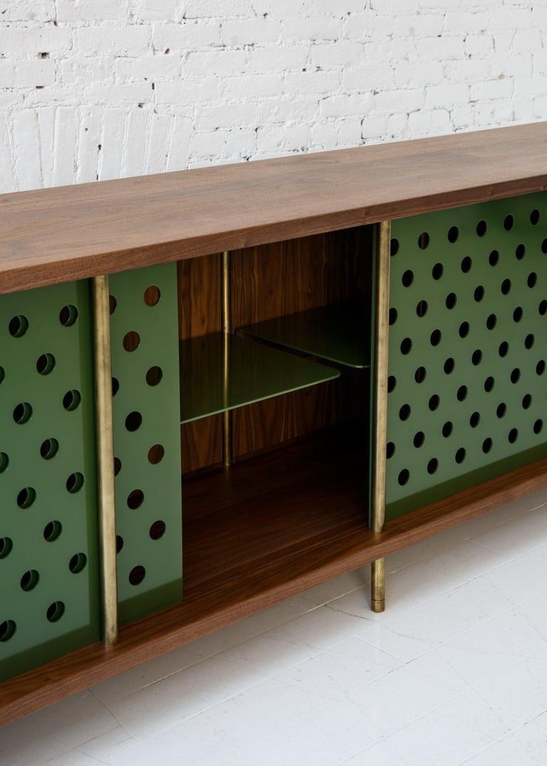 Contemporary 4 Door Strata Credenza. Walnut, Brass, Green Doors by Fort Standard For Sale 1