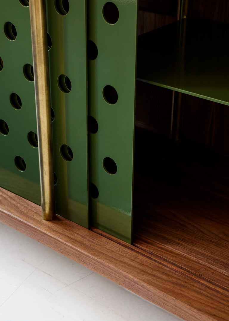 Contemporary 4 Door Strata Credenza. Walnut, Brass, Green Doors by Fort Standard For Sale 2
