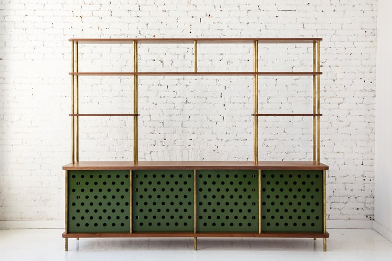 Contemporary 4 Door Strata Credenza. Walnut, Brass, Green Doors by Fort Standard For Sale 3