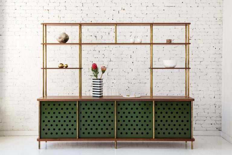 American 3 Door Strata Credenza with Top Shelves in White Oak, Brass by Fort Standard For Sale