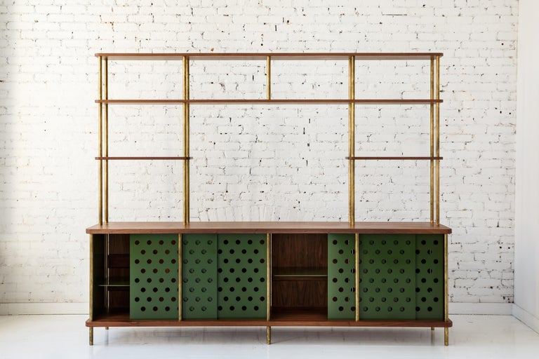 3 Door Strata Credenza with Top Shelves in White Oak, Brass by Fort Standard In New Condition For Sale In Brooklyn, NY