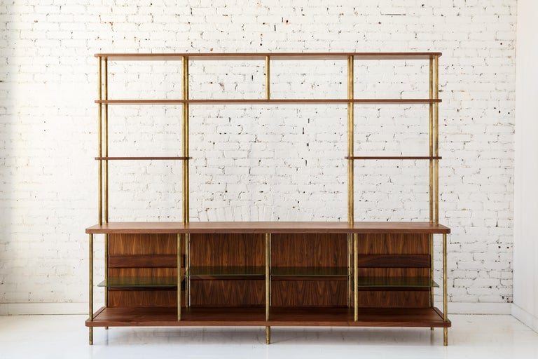 Contemporary 3 Door Strata Credenza with Top Shelves in White Oak, Brass by Fort Standard For Sale