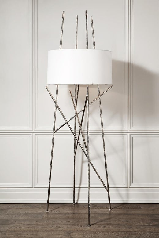Beacon floor lamp with white linen shade and satin black frame beacon floor lamp with white linen shade and satin black frame powell and bonnell for sale at 1stdibs aloadofball Choice Image