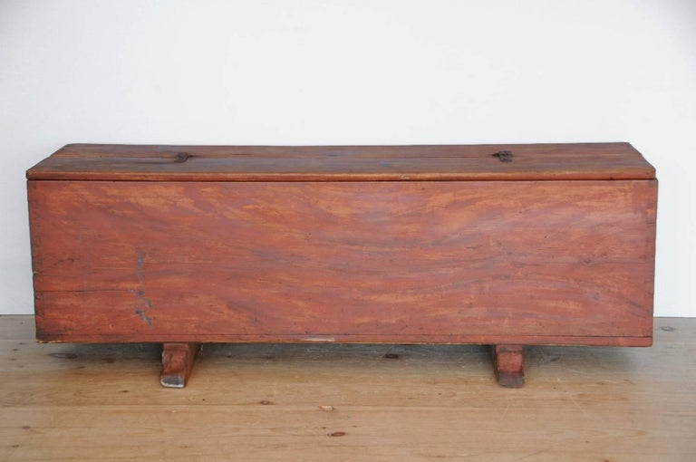 Allmoge trunk / bench with faux grain painted finish, origin: Sweden, circa 1800.