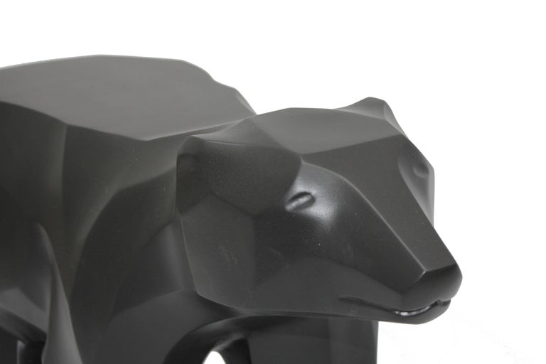 Hand-Crafted Black Walking Bear Side or End Table Contemporary Handmade Hydrostone Sculpture For Sale