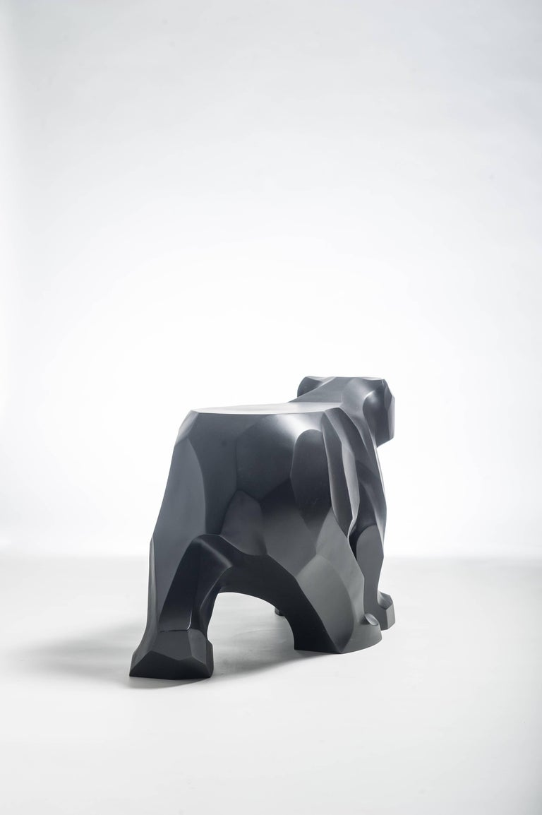 Post-Modern Black Walking Bear Side or End Table Contemporary Handmade Hydrostone Sculpture For Sale