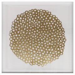 Ikura Gold Leafed Handmade Artwork on Cotton Rag Paper, Wall Hung Art