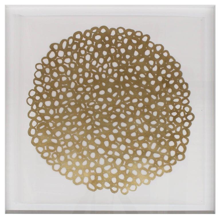 Ikura Gold Leafed Handmade Artwork on Cotton Rag Paper, Wall Hung Art
