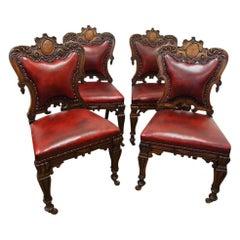 Set of Four Victorian Oak Chairs, circa 1860