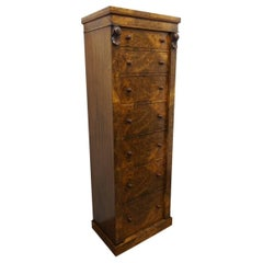 Tall Victorian Style Burr Walnut Wellington Chest