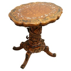 Anglo-Chinese Carved Wood and Inlaid Occasional Table, circa 1900
